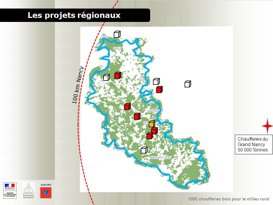 1000 chaufferies bois pour le milieu rural Chaufferies du Grand Nancy 50 000 Tonnes Les projets régionaux 100 km Nancy