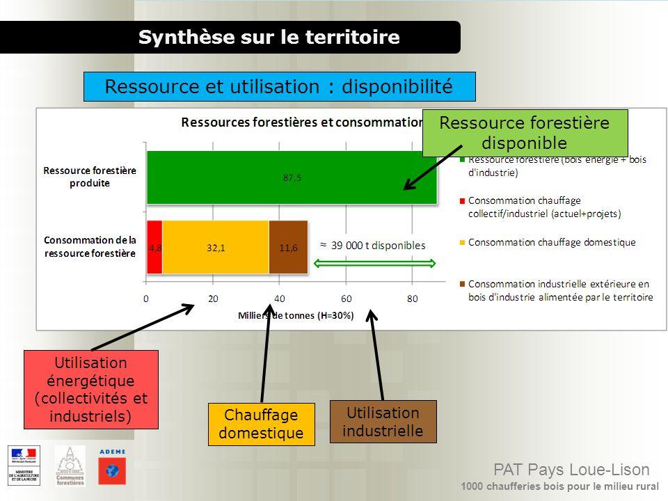 1000 chaufferies bois pour le milieu rural PAT Pays Loue-Lison Synthèse sur le territoire Ressource et utilisation : disponibilité Ressource forestièr