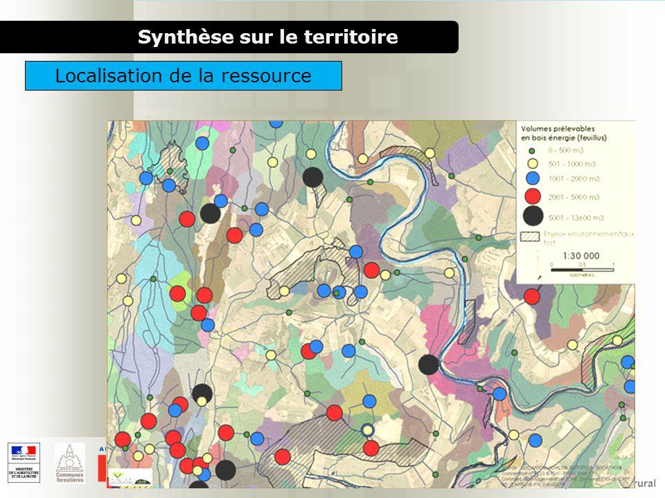 1000 chaufferies bois pour le milieu rural Synthèse sur le territoire Localisation de la ressource