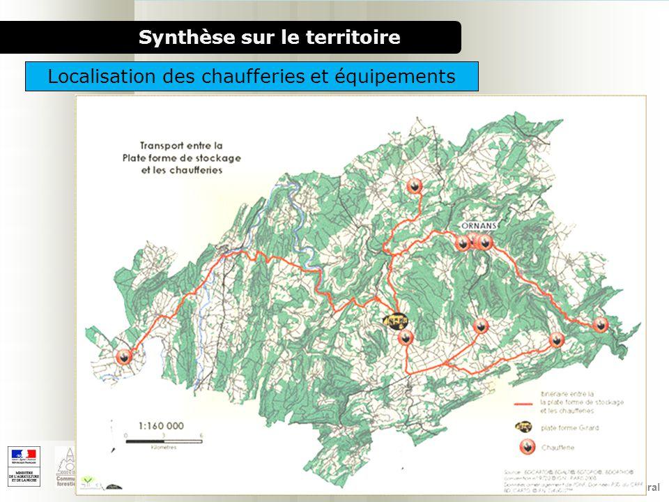 1000 chaufferies bois pour le milieu rural Synthèse sur le territoire Localisation de la ressourceLocalisation des chaufferies et équipements