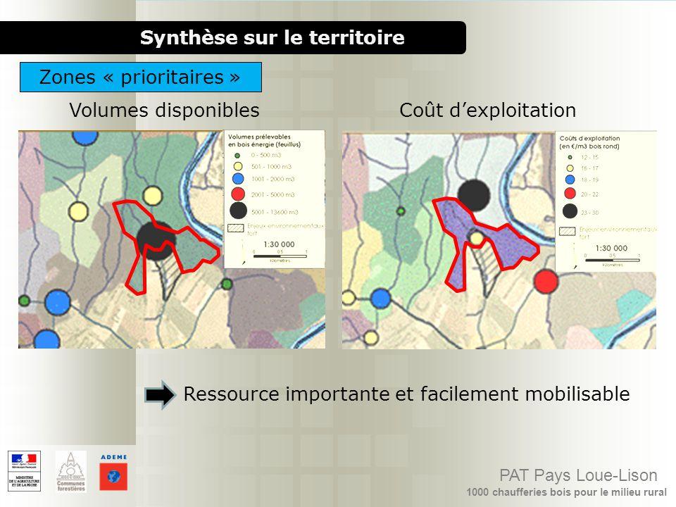 1000 chaufferies bois pour le milieu rural PAT Pays Loue-Lison Synthèse sur le territoire Coût dexploitationVolumes disponibles Ressource importante e