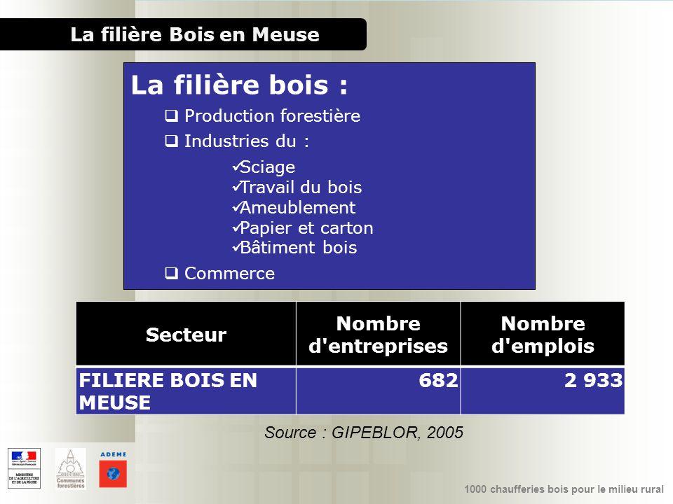 1000 chaufferies bois pour le milieu rural La filière Bois en Meuse Secteur Nombre d'entreprises Nombre d'emplois FILIERE BOIS EN MEUSE 6822 933 Sourc