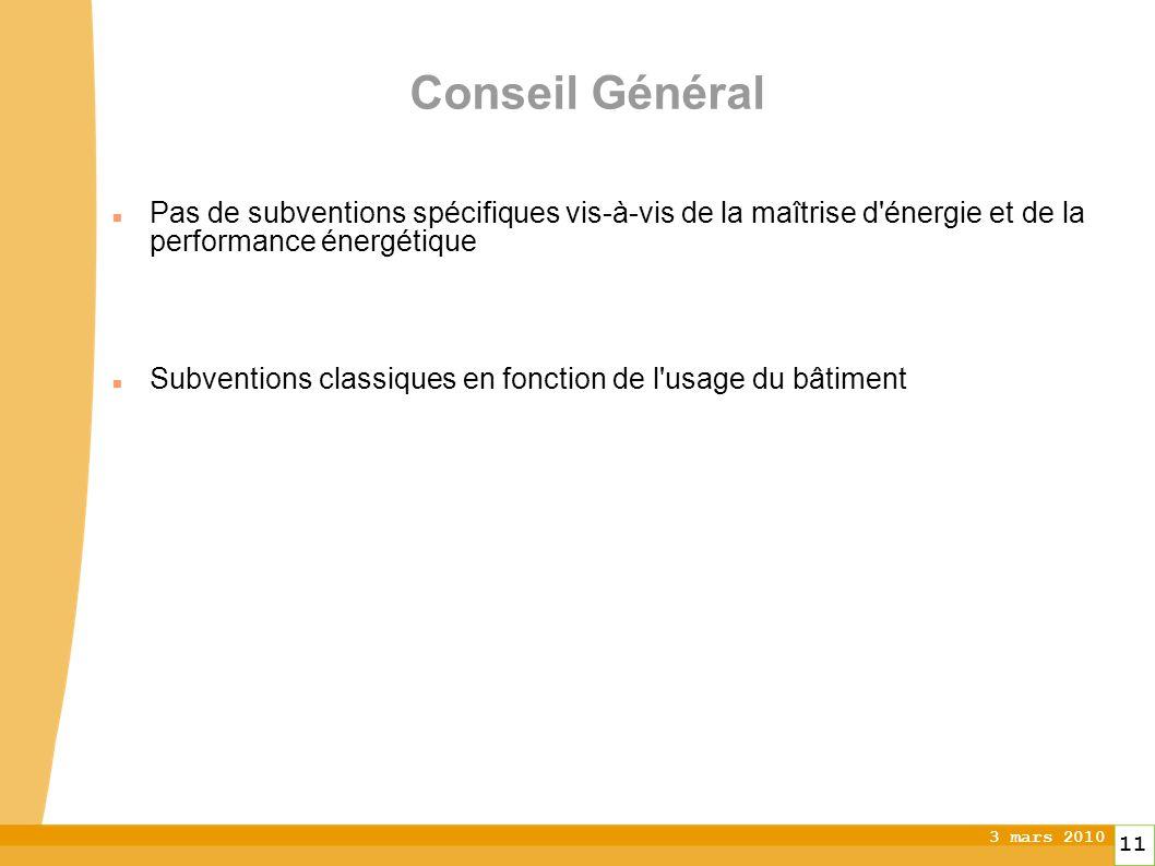 3 mars 2010 11 Conseil Général Pas de subventions spécifiques vis-à-vis de la maîtrise d énergie et de la performance énergétique Subventions classiques en fonction de l usage du bâtiment