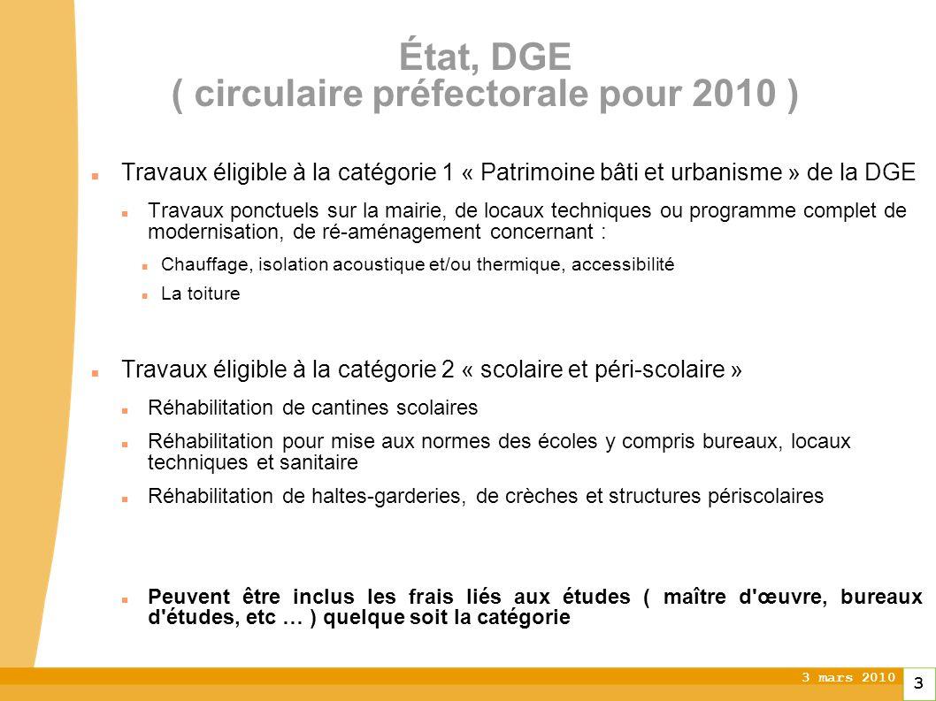 3 mars 2010 3 État, DGE ( circulaire préfectorale pour 2010 ) Travaux éligible à la catégorie 1 « Patrimoine bâti et urbanisme » de la DGE Travaux pon