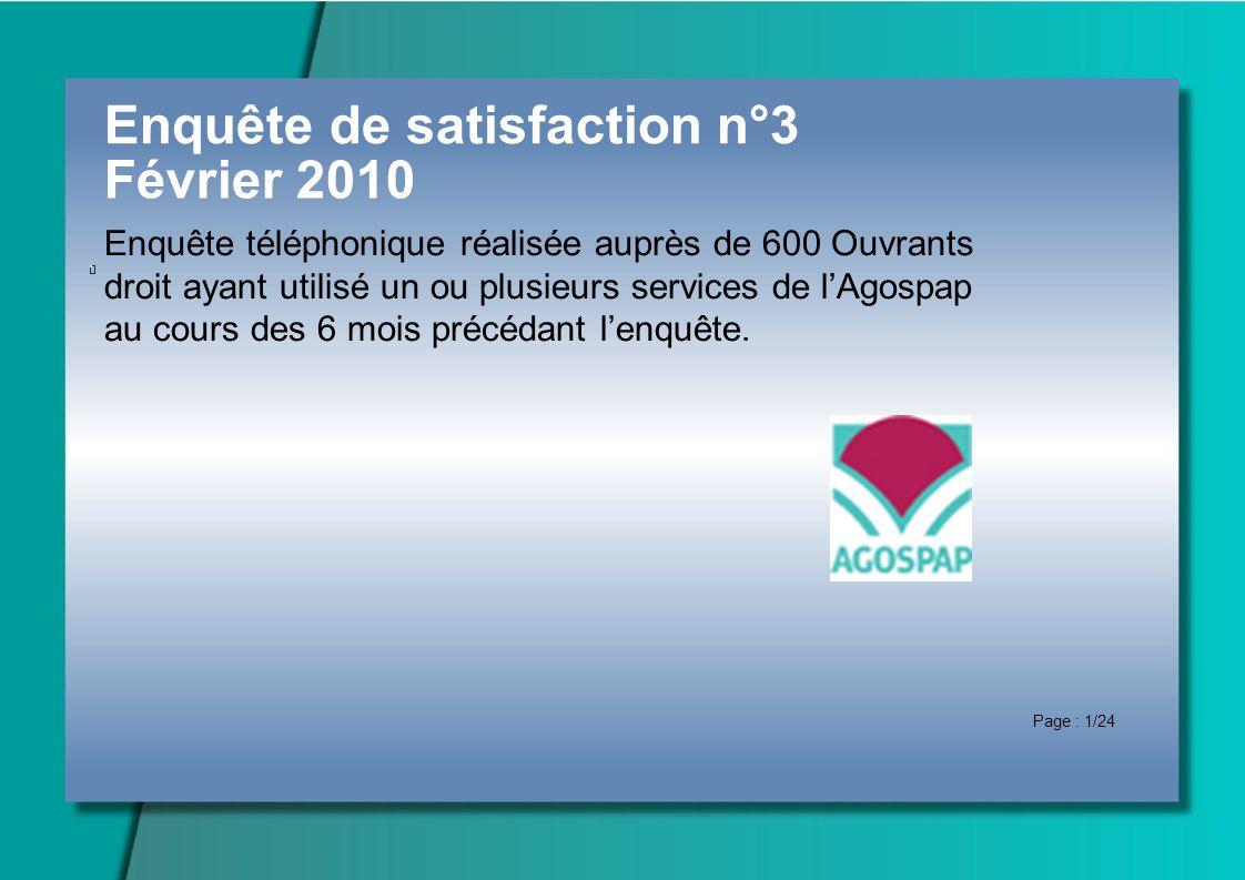 Enquête de satisfaction n°3 Février 2010 Enquête téléphonique réalisée auprès de 600 Ouvrants droit ayant utilisé un ou plusieurs services de lAgospap au cours des 6 mois précédant lenquête.