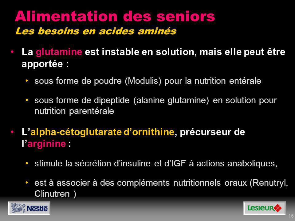15 La glutamine est instable en solution, mais elle peut être apportée : sous forme de poudre (Modulis) pour la nutrition entérale sous forme de dipep