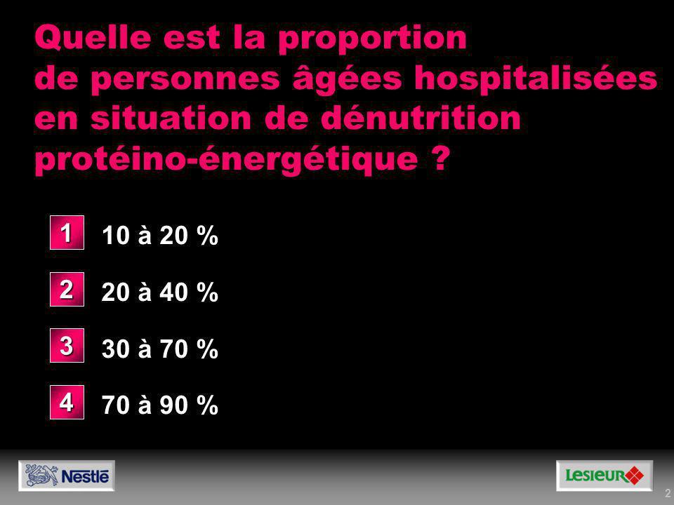 2 Quelle est la proportion de personnes âgées hospitalisées en situation de dénutrition protéino-énergétique ? 10 à 20 % 20 à 40 % 30 à 70 % 70 à 90 %