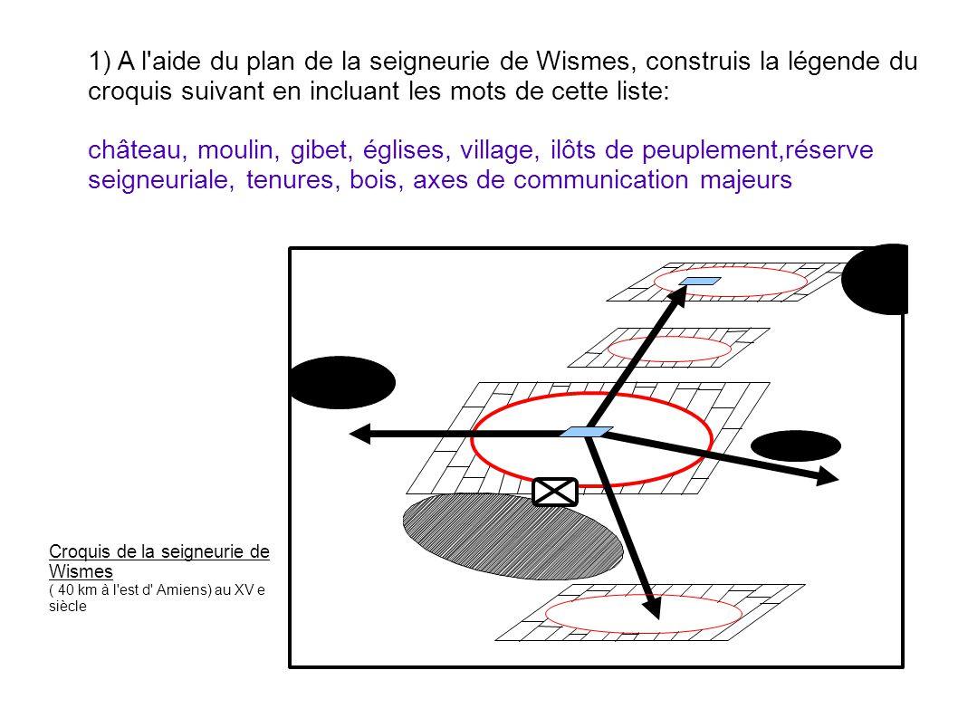 1) A l'aide du plan de la seigneurie de Wismes, construis la légende du croquis suivant en incluant les mots de cette liste: château, moulin, gibet, é