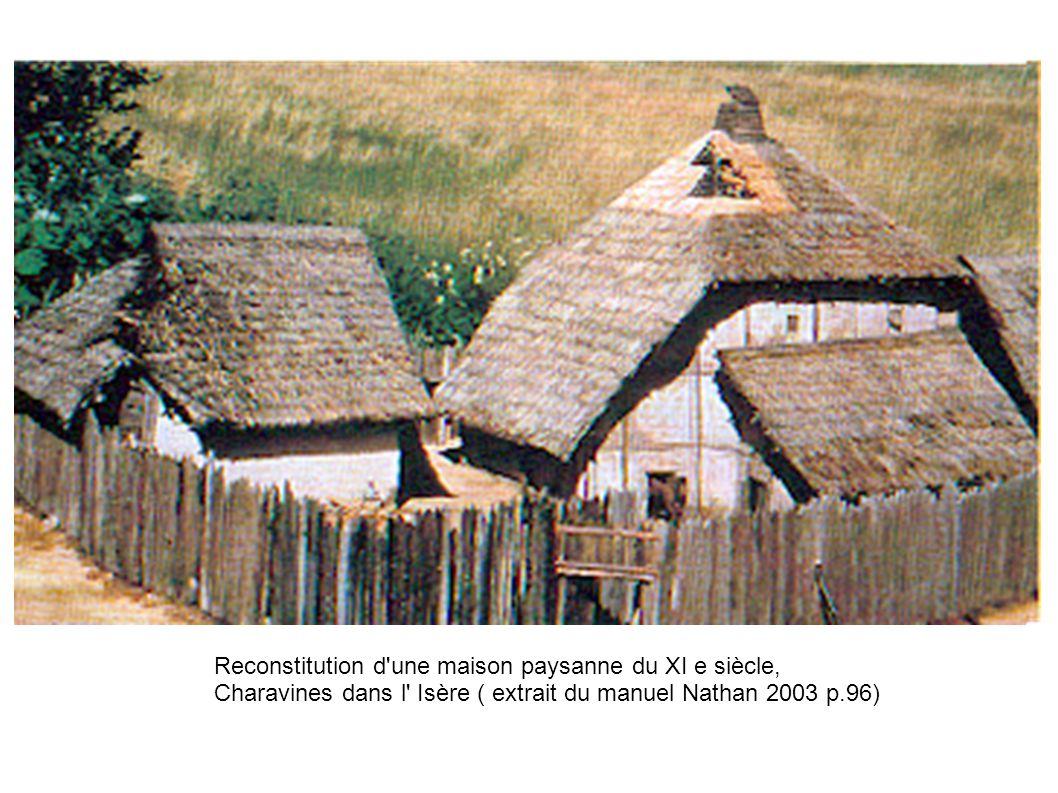 Reconstitution d'une maison paysanne du XI e siècle, Charavines dans l' Isère ( extrait du manuel Nathan 2003 p.96)