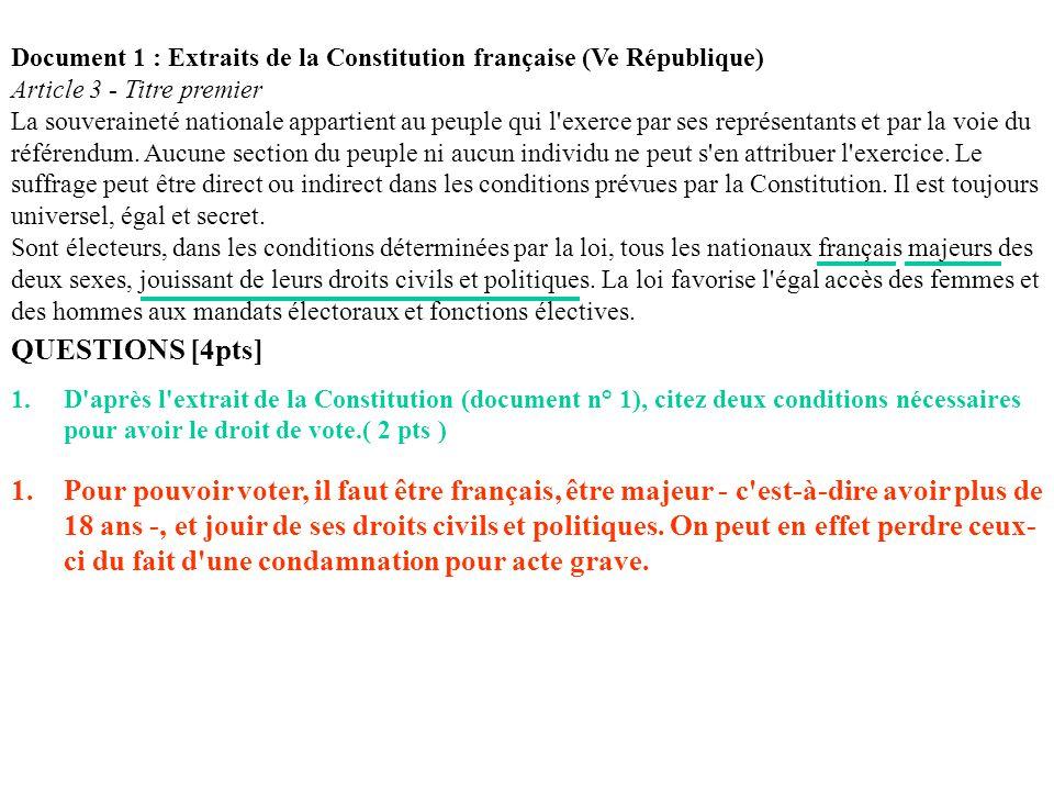 Document 1 : Extraits de la Constitution française (Ve République) Article 3 - Titre premier La souveraineté nationale appartient au peuple qui l'exer