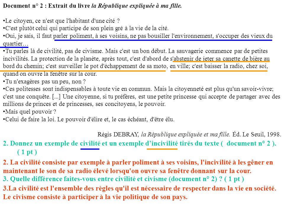 Document n° 2 : Extrait du livre la République expliquée à ma fille. Le citoyen, ce n'est que l'habitant d'une cité ? C'est plutôt celui qui participe