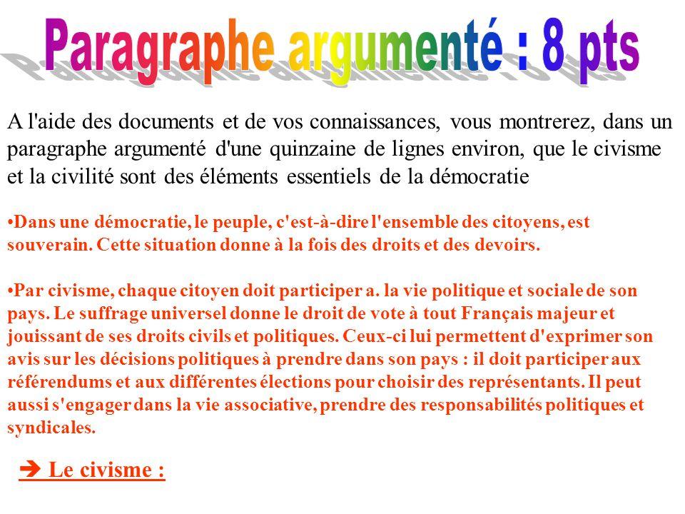 A l'aide des documents et de vos connaissances, vous montrerez, dans un paragraphe argumenté d'une quinzaine de lignes environ, que le civisme et la c