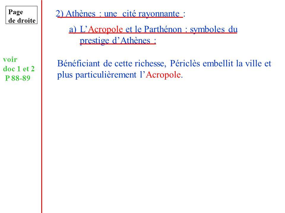 Page de droite 2) Athènes : une cité rayonnante : a)LAcropole et le Parthénon : symboles du prestige dAthènes : voir doc 1 et 2 P 88-89 Bénéficiant de