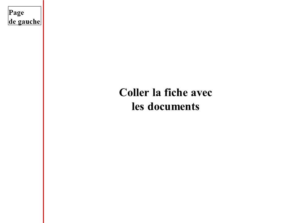 Page de gauche Coller la fiche avec les documents