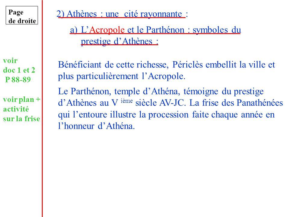 Page de droite 2) Athènes : une cité rayonnante : a)LAcropole et le Parthénon : symboles du prestige dAthènes : Bénéficiant de cette richesse, Périclè