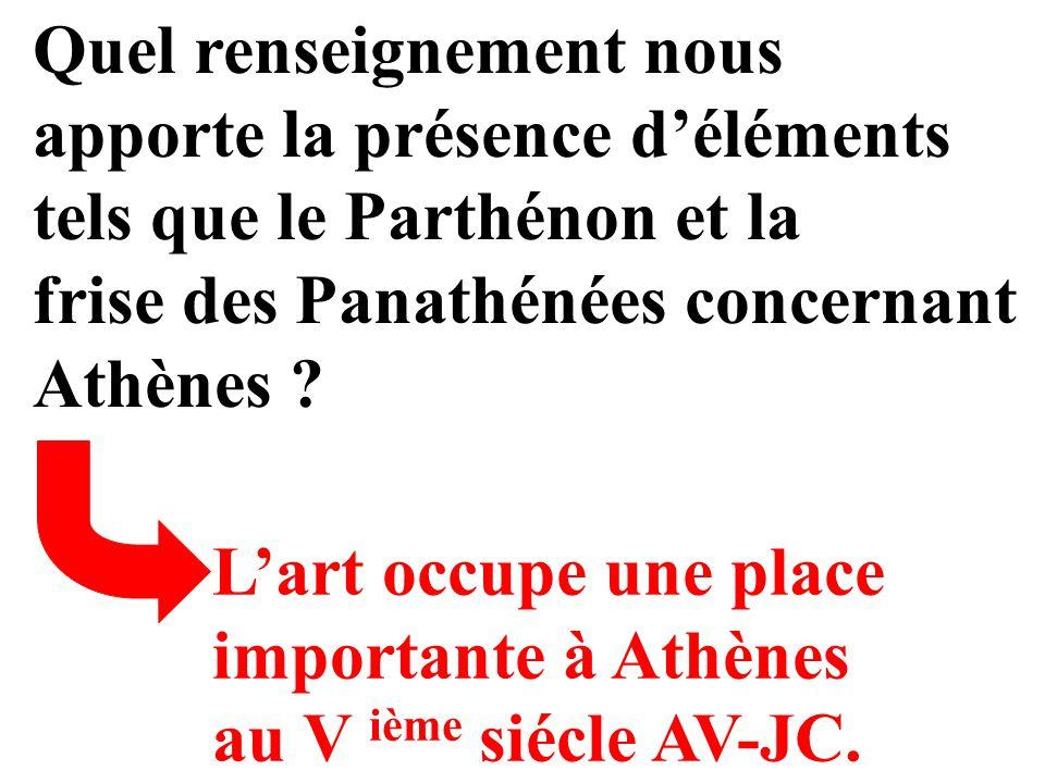 Quel renseignement nous apporte la présence déléments tels que le Parthénon et la frise des Panathénées concernant Athènes ? Lart occupe une place imp