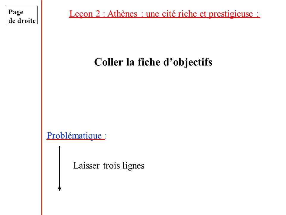 Leçon 2 : Athènes : une cité riche et prestigieuse : Page de droite Coller la fiche dobjectifs Problématique : Laisser trois lignes