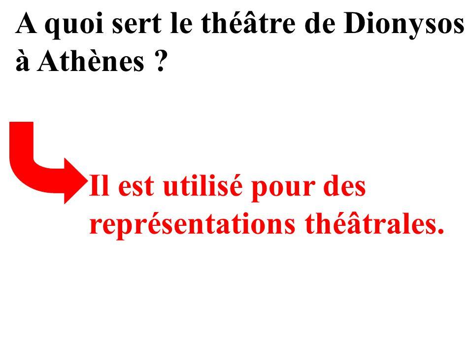 A quoi sert le théâtre de Dionysos à Athènes ? Il est utilisé pour des représentations théâtrales.