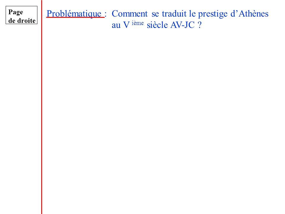 Page de droite Problématique :Comment se traduit le prestige dAthènes au V ième siècle AV-JC ?