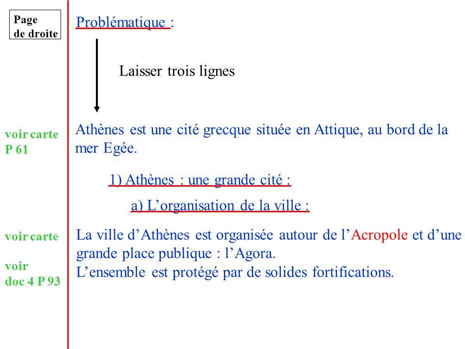 Page de droite Problématique : Laisser trois lignes Athènes est une cité grecque située en Attique, au bord de la mer Egée. 1) Athènes : une grande ci