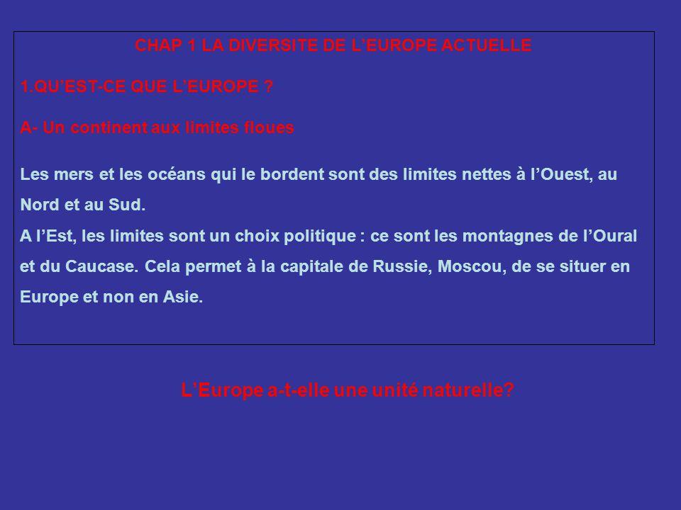 CHAP 1 LA DIVERSITE DE LEUROPE ACTUELLE 1.QUEST-CE QUE LEUROPE .