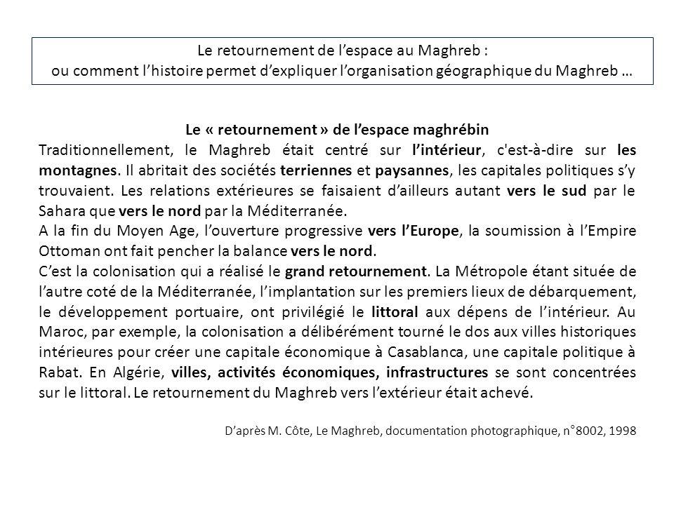 Le retournement de lespace au Maghreb : ou comment lhistoire permet dexpliquer lorganisation géographique du Maghreb … Le « retournement » de lespace maghrébin Traditionnellement, le Maghreb était centré sur lintérieur, c est-à-dire sur les montagnes.