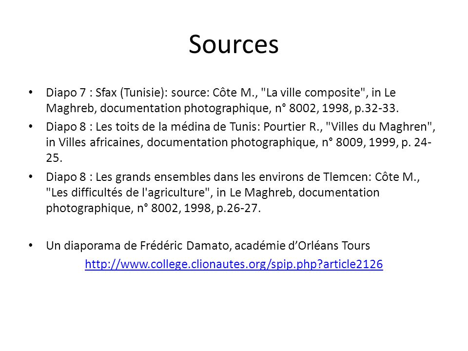 Sources Diapo 7 : Sfax (Tunisie): source: Côte M.,