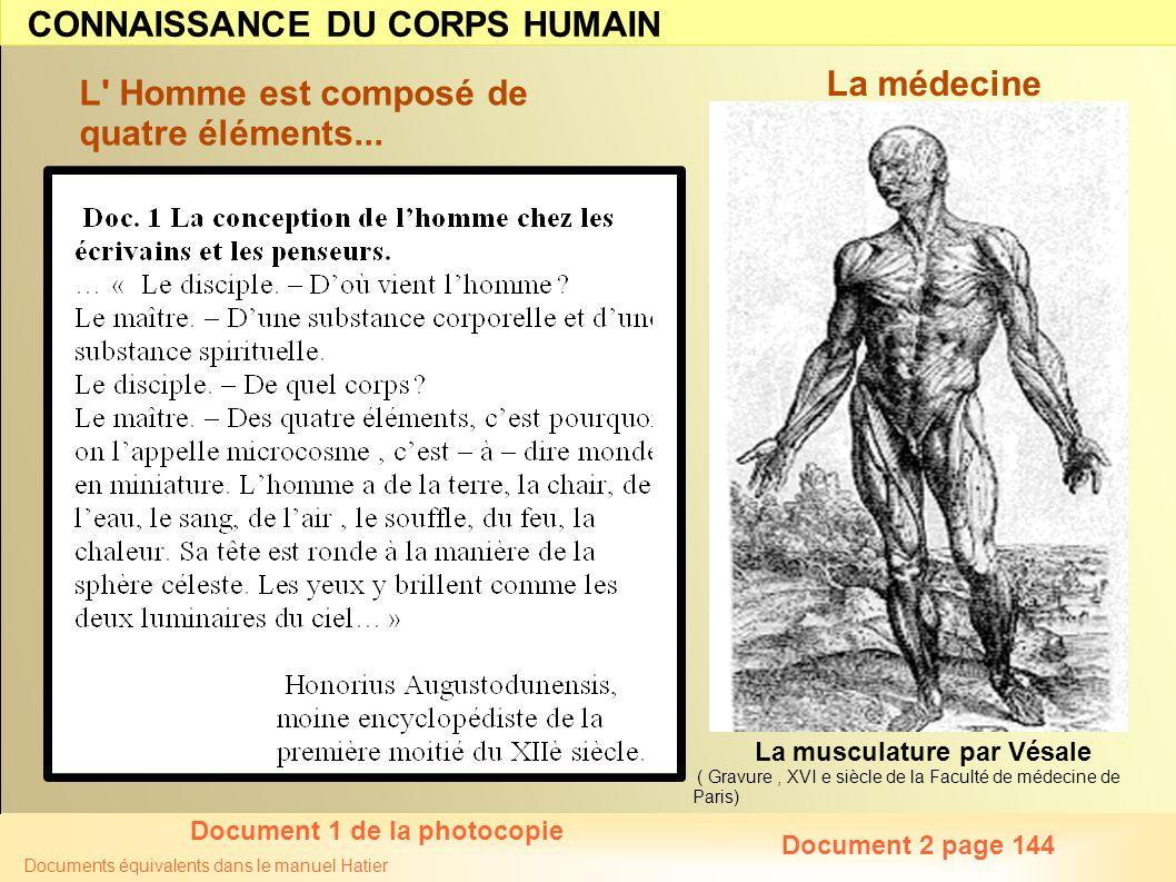 Documents équivalents dans le manuel Hatier L' Homme est composé de quatre éléments... La musculature par Vésale ( Gravure, XVI e siècle de la Faculté