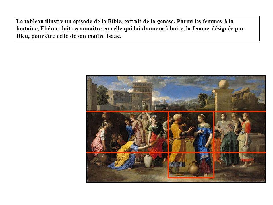 Le tableau illustre un épisode de la Bible, extrait de la genèse.