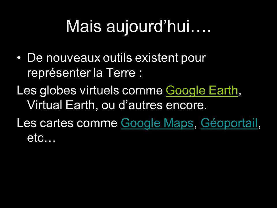Mais aujourdhui…. De nouveaux outils existent pour représenter la Terre : Les globes virtuels comme Google Earth, Virtual Earth, ou dautres encore.Goo