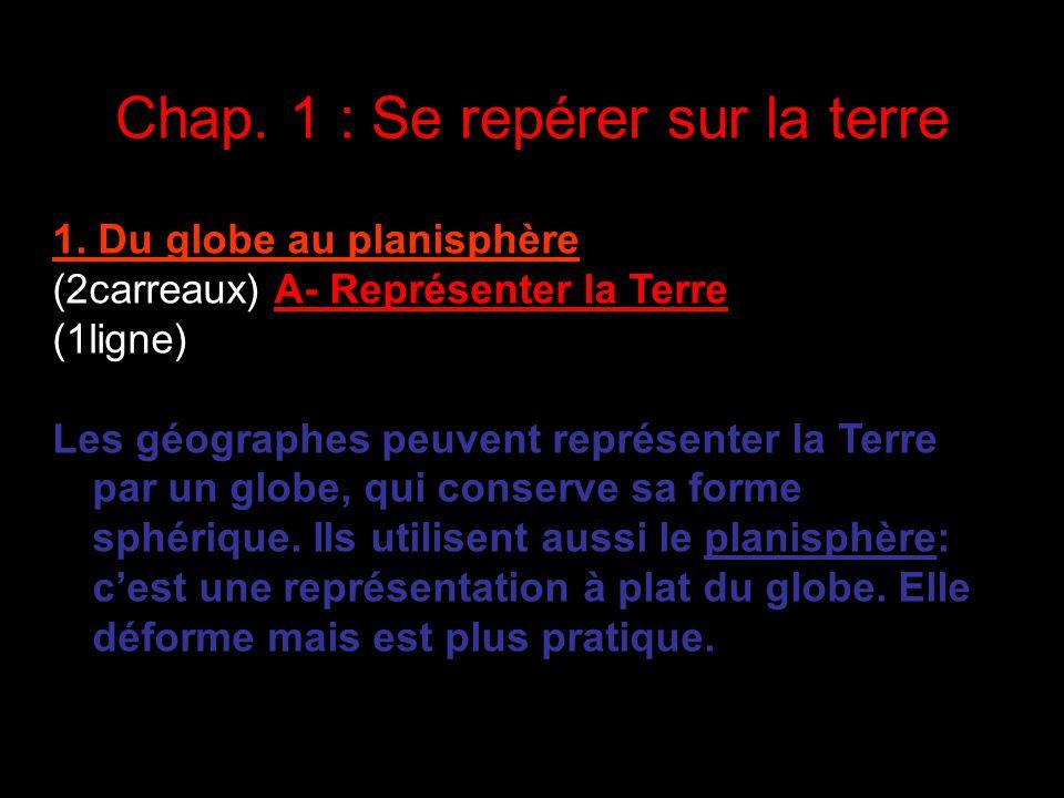 Chap. 1 : Se repérer sur la terre Mais voici ce que tu dois retenir: 1. Du globe au planisphère (2carreaux) A- Représenter la Terre (1ligne) Les géogr