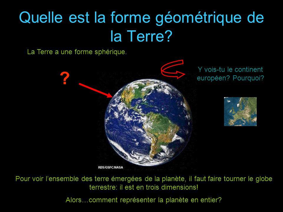 Quelle est la forme géométrique de la Terre? Mais ce nest pas une sphère parfaite… La Terre a une forme sphérique. Y vois-tu le continent européen? Po