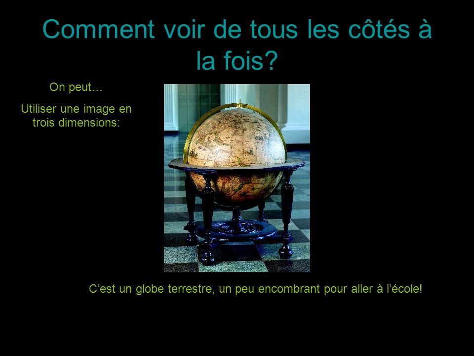 Comment voir de tous les côtés à la fois? On peut… Utiliser une image en trois dimensions: Cest un globe terrestre, un peu encombrant pour aller à léc