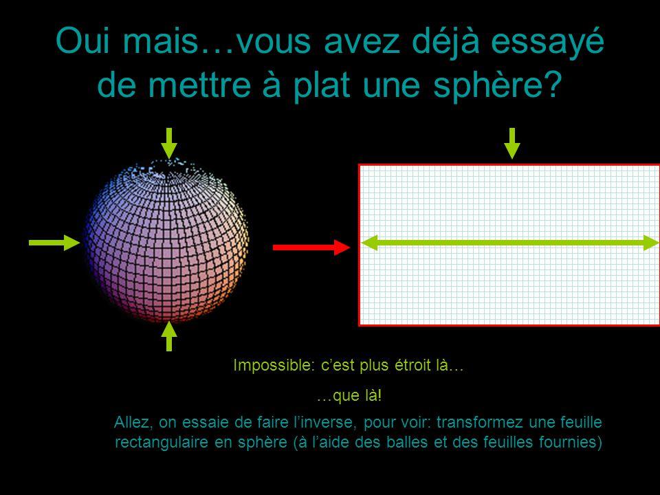 Oui mais…vous avez déjà essayé de mettre à plat une sphère? Impossible: cest plus étroit là… …que là! Allez, on essaie de faire linverse, pour voir: t