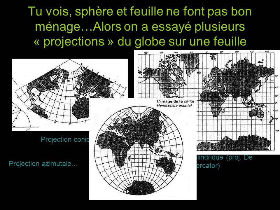 Tu vois, sphère et feuille ne font pas bon ménage…Alors on a essayé plusieurs « projections » du globe sur une feuille Projection conique Projection c