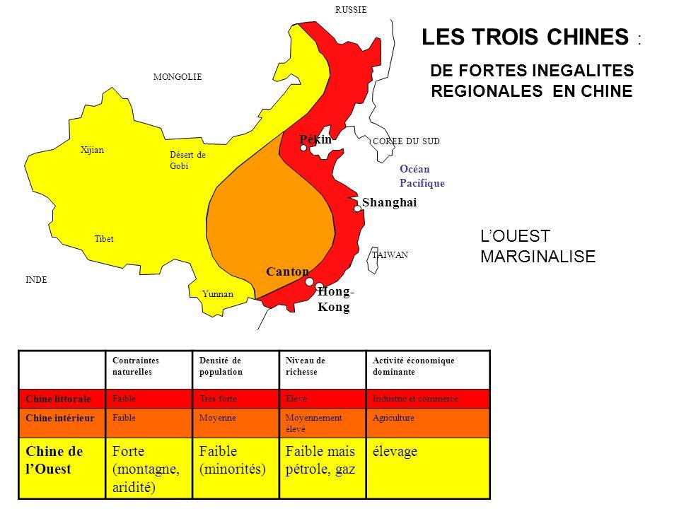 Désert de Gobi Xijian Tibet Yunnan Contraintes naturelles Densité de population Niveau de richesse Activité économique dominante Chine littorale Faibl