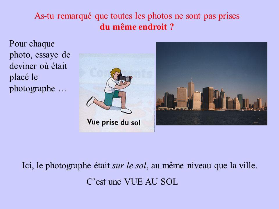 As-tu remarqué que toutes les photos ne sont pas prises du même endroit .