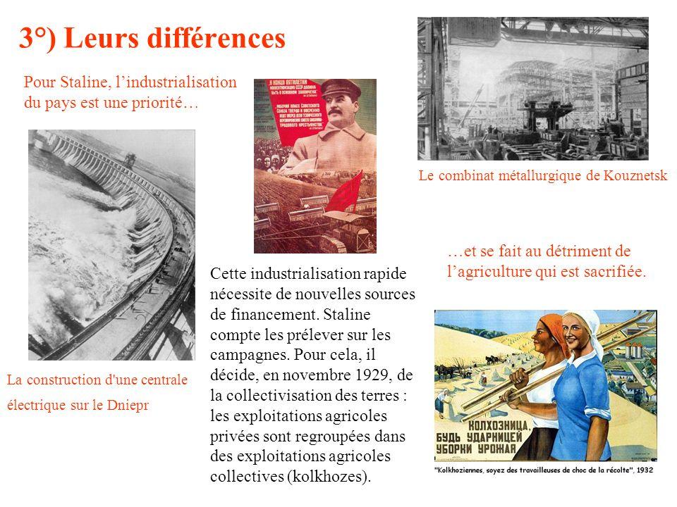 3°) Leurs différences Pour Staline, lindustrialisation du pays est une priorité… Le combinat métallurgique de Kouznetsk La construction d'une centrale