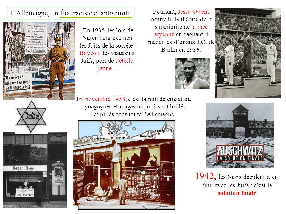 LAllemagne, un État raciste et antisémite Pourtant, Jesse Owens contredit la théorie de la supériorité de la race aryenne en gagnant 4 médailles dor a