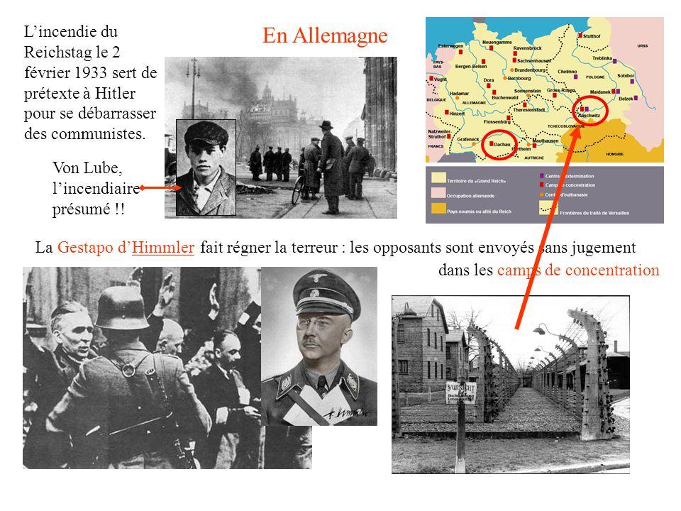Lincendie du Reichstag le 2 février 1933 sert de prétexte à Hitler pour se débarrasser des communistes.