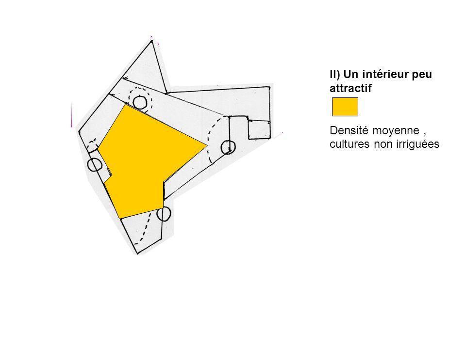 II) Un intérieur peu attractif Densité moyenne, cultures non irriguées
