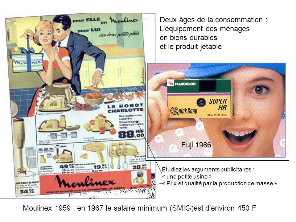 Moulinex 1959 : en 1967 le salaire minimum (SMIG)est denviron 450 F Fuji 1986 Deux âges de la consommation : Léquipement des ménages en biens durables
