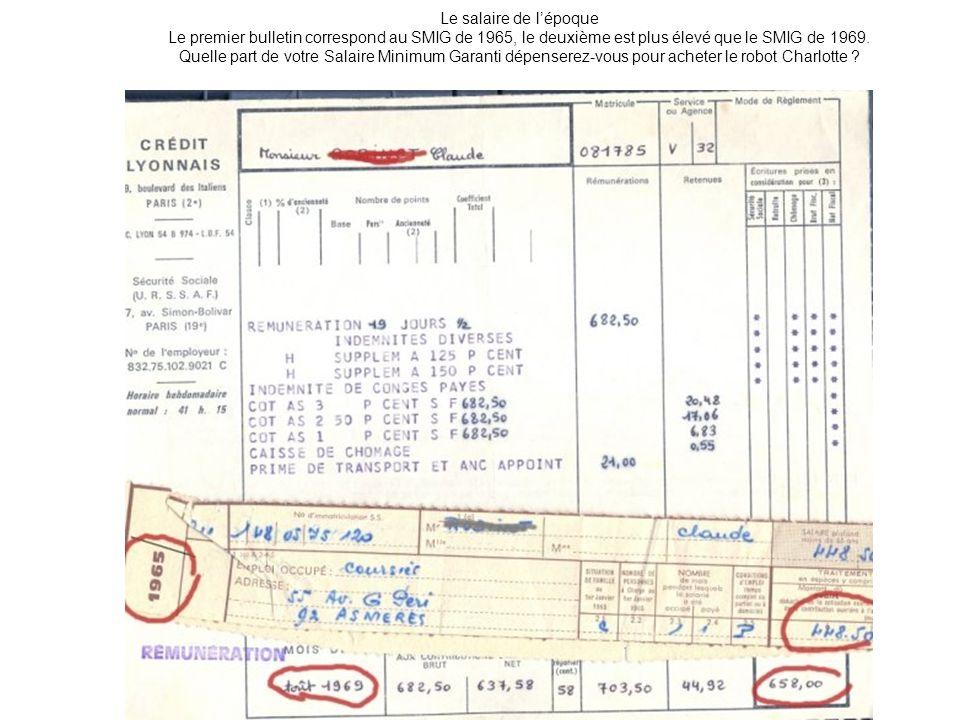Le salaire de lépoque Le premier bulletin correspond au SMIG de 1965, le deuxième est plus élevé que le SMIG de 1969. Quelle part de votre Salaire Min