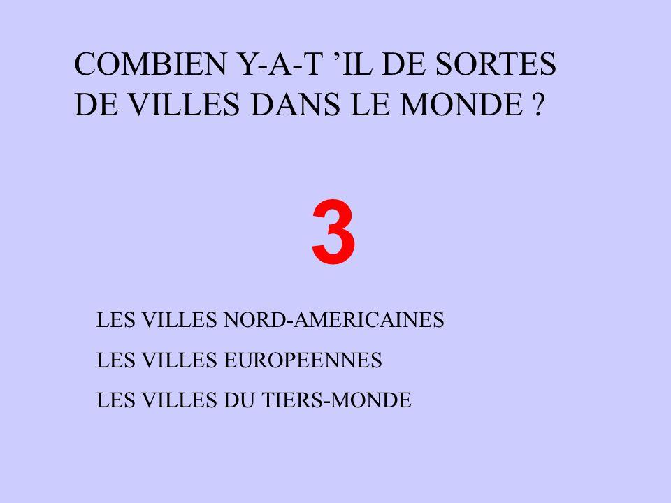 COMBIEN Y-A-T IL DE SORTES DE VILLES DANS LE MONDE .