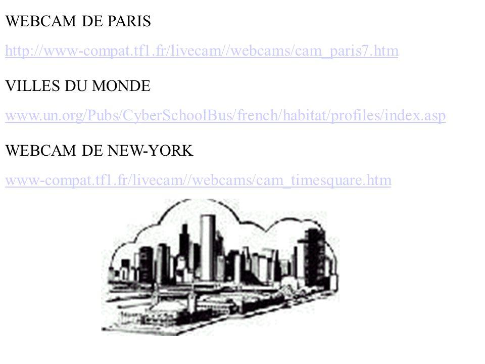 WEBCAM DE PARIS http://www-compat.tf1.fr/livecam//webcams/cam_paris7.htm VILLES DU MONDE www.un.org/Pubs/CyberSchoolBus/french/habitat/profiles/index.asp WEBCAM DE NEW-YORK www-compat.tf1.fr/livecam//webcams/cam_timesquare.htm