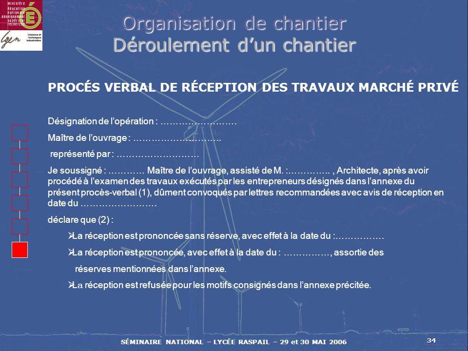 34 SÉMINAIRE NATIONAL – LYCÉE RASPAIL – 29 et 30 MAI 2006 Organisation de chantier Déroulement dun chantier Désignation de lopération : ……………………. Maît