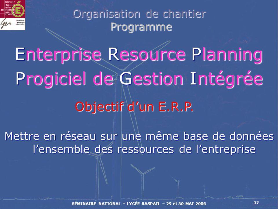 37 SÉMINAIRE NATIONAL – LYCÉE RASPAIL – 29 et 30 MAI 2006 Organisation de chantier Programme Programme Enterprise Resource Planning Progiciel de Gesti