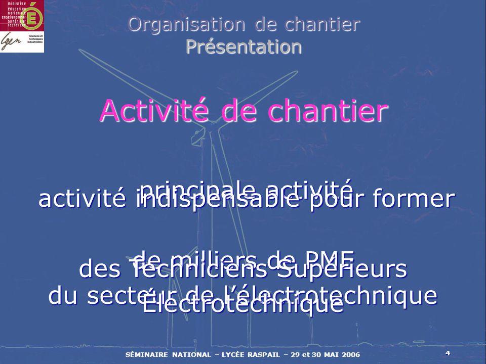 4 SÉMINAIRE NATIONAL – LYCÉE RASPAIL – 29 et 30 MAI 2006 principale activité principale activité de milliers de PME du secteur de lélectrotechnique Ac
