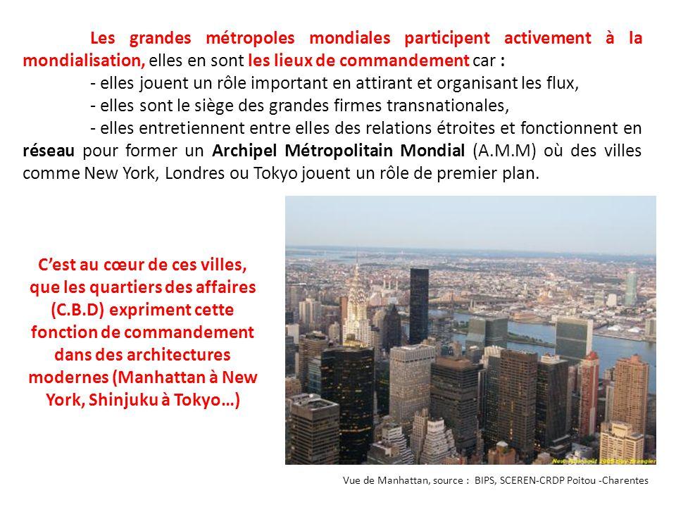 Les grandes métropoles mondiales participent activement à la mondialisation, elles en sont les lieux de commandement car : - elles jouent un rôle impo