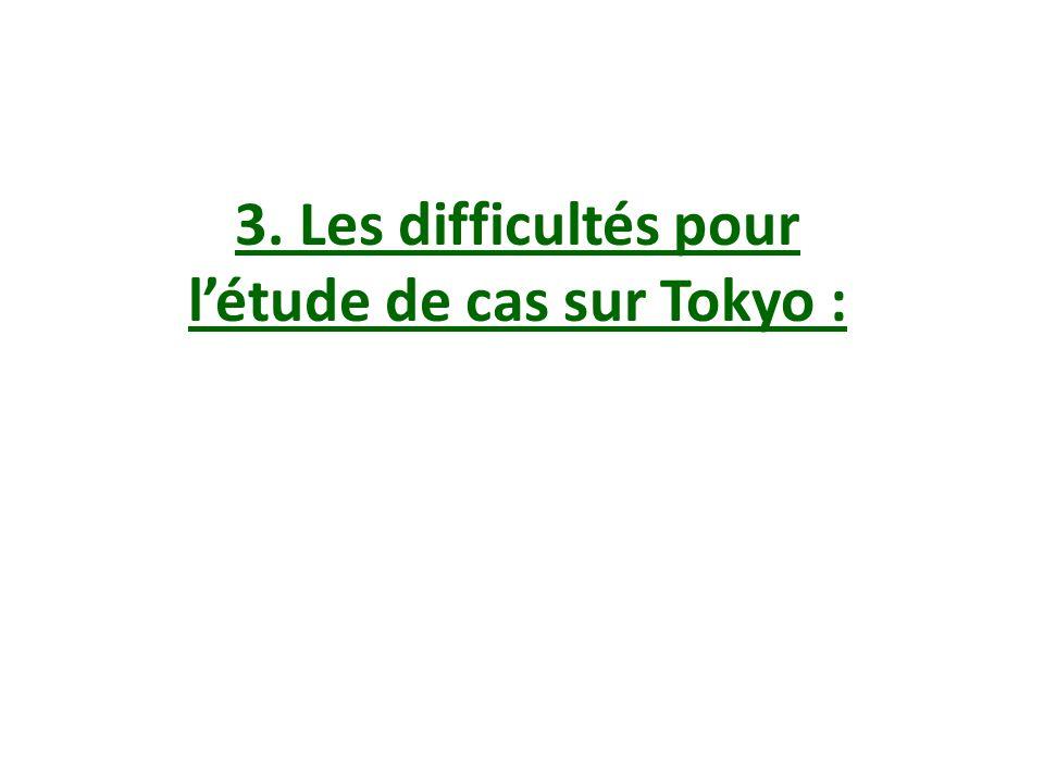 3. Les difficultés pour létude de cas sur Tokyo :